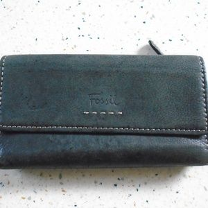 Fossil Leather Tri-fold Checkbook Style Wallet